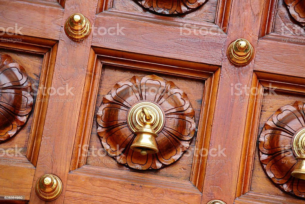 Detail in the door at the Sri Mariamman Temple stock photo