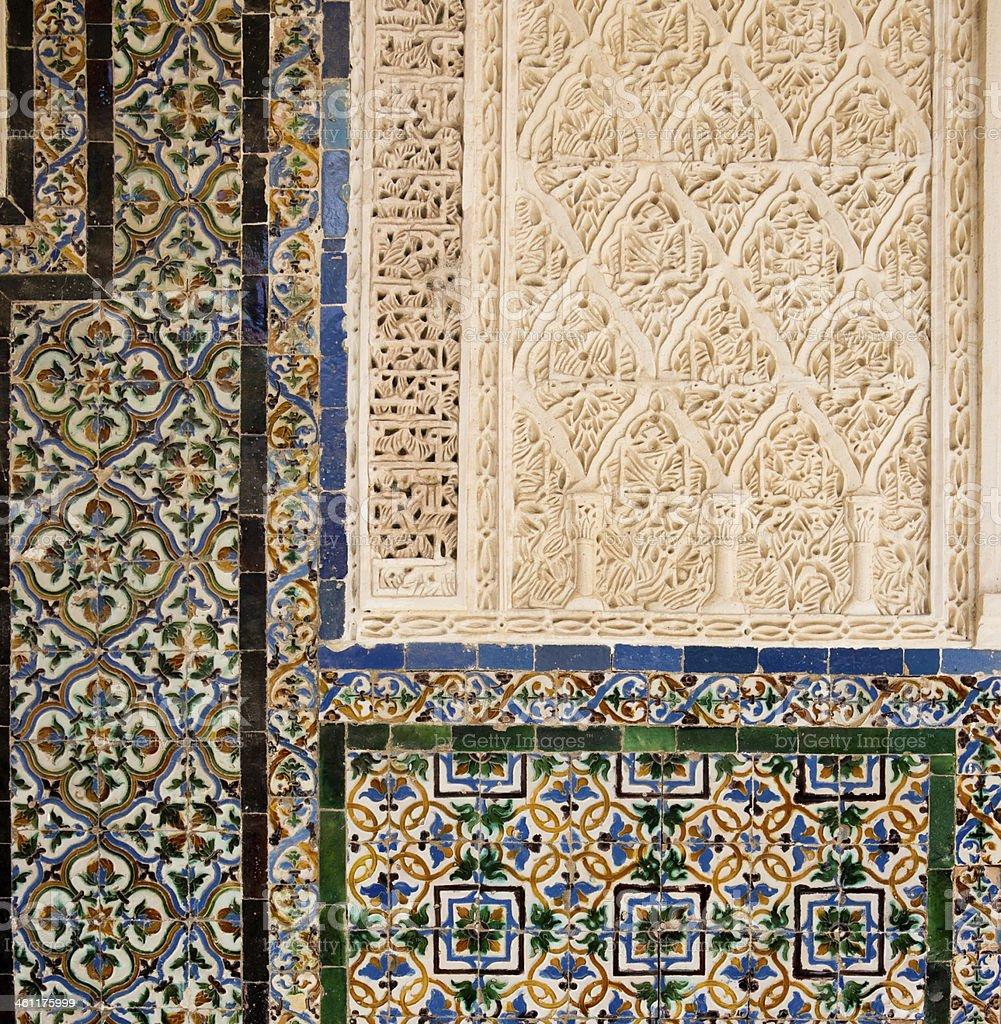 Detail Mud?jar Patio Principal of La Casa de Pilatos, Seville royalty-free stock photo