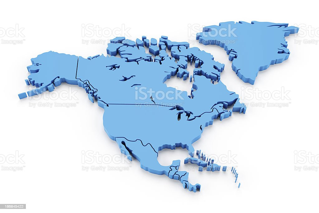 Detail north america map with national borders stock photo