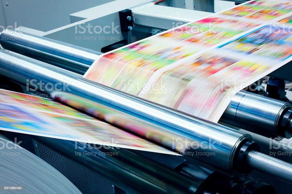 Detail od printing machine stock photo
