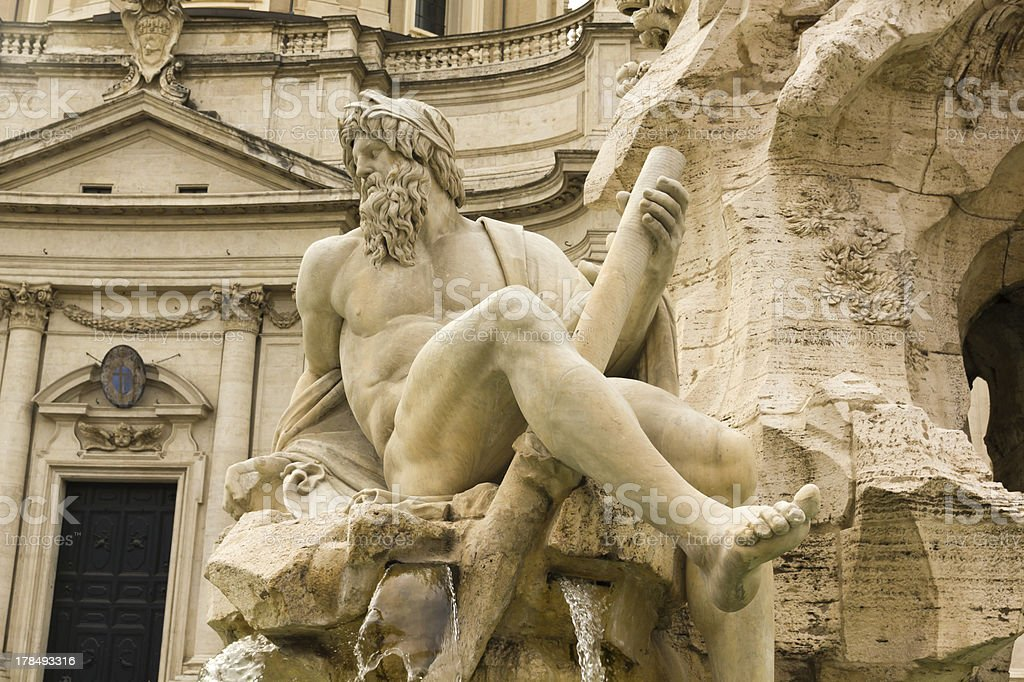 Detail od Statue. Piazza Navona, Rome royalty-free stock photo