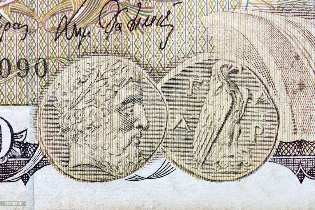 Detail Of 1000 Greek Drachmas stock photo