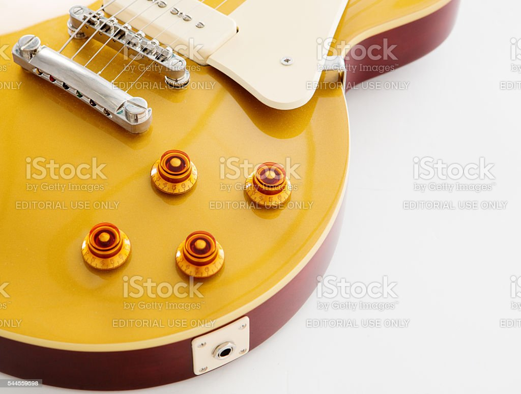 Detail of '56 Les Paul Pro electric guitar stock photo