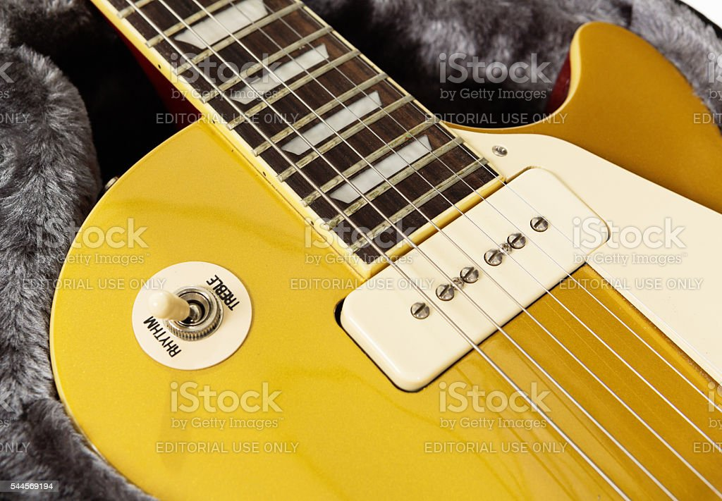 Detail of '56 Les Paul Pro electric guitar, showing switch stock photo