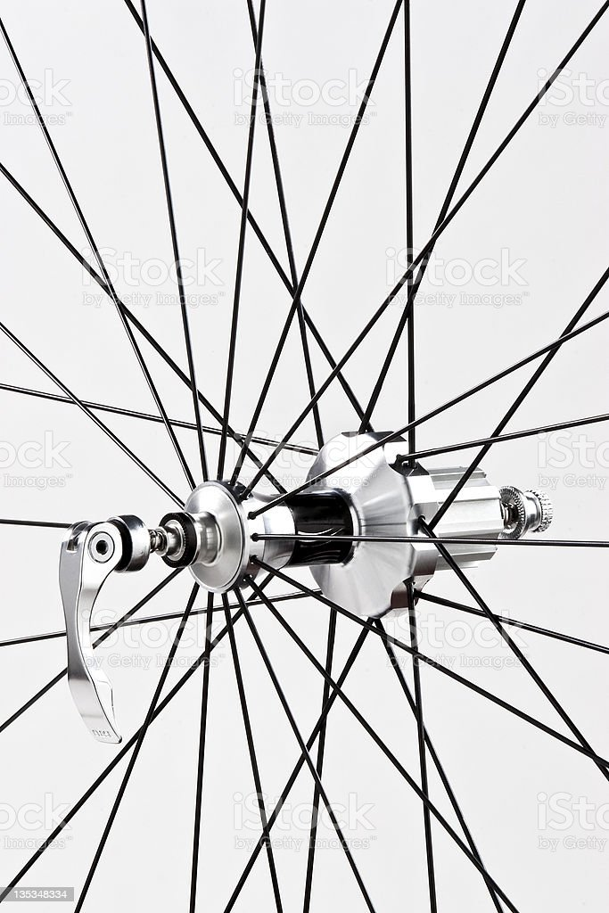 Detail of a bicycle's wheel. royalty-free stock photo