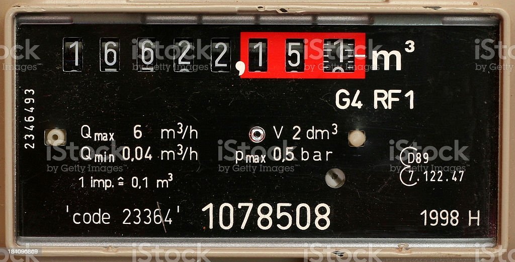 Detail of a black european gasmeter with altered codes stock photo
