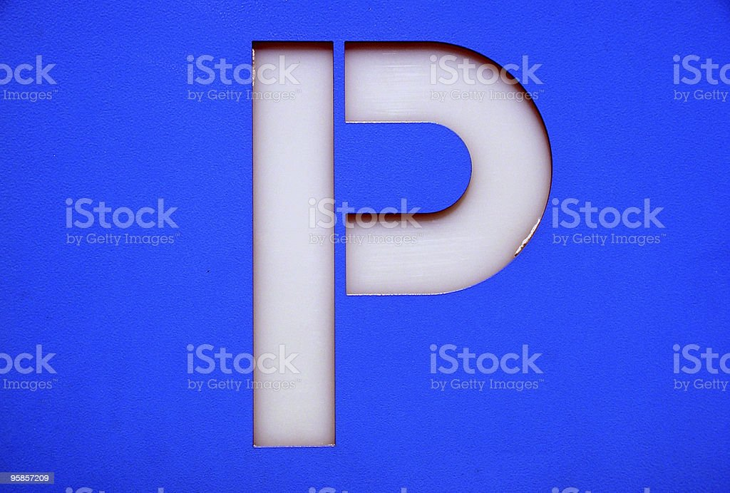 Detail of a blue parking sign stock photo