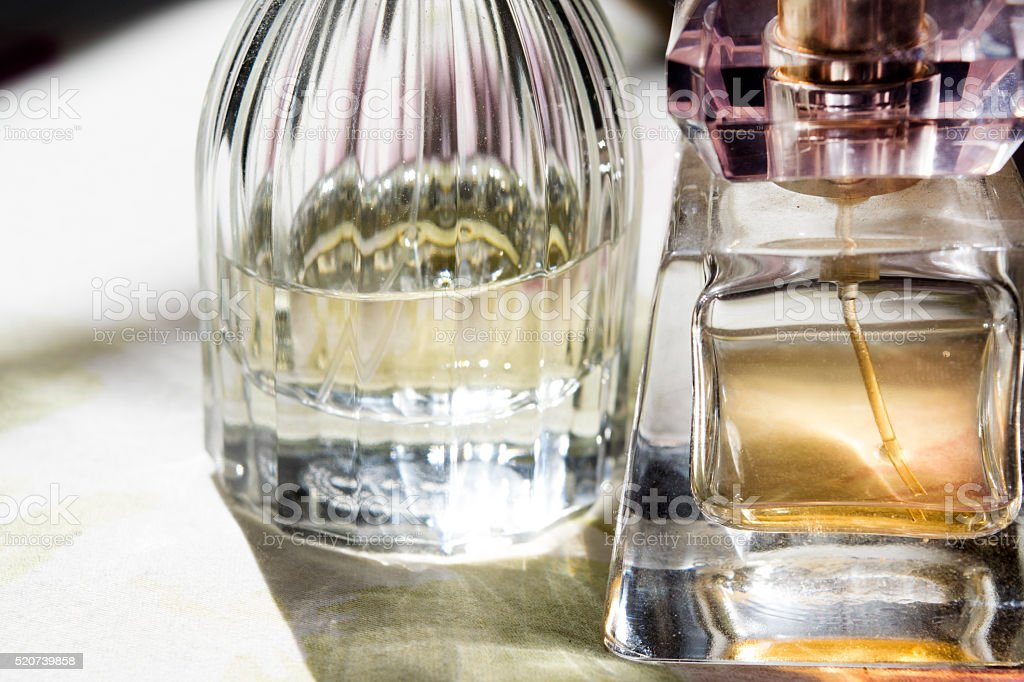 detail of a bottle of perfume stock photo