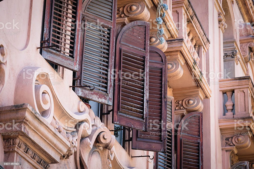 Detail of a building in Messina, Sicily stock photo