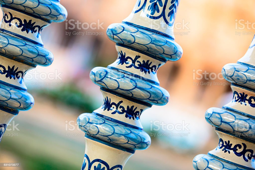 Detail of a ceramic hand painted balustrade stock photo