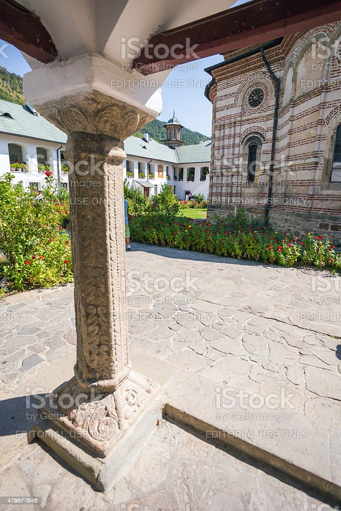 Detail of a column from Cozia monastery church stock photo