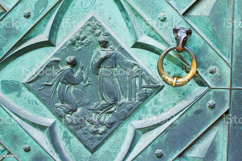 Detail of a door knob of St. Mary's Basilica stock photo