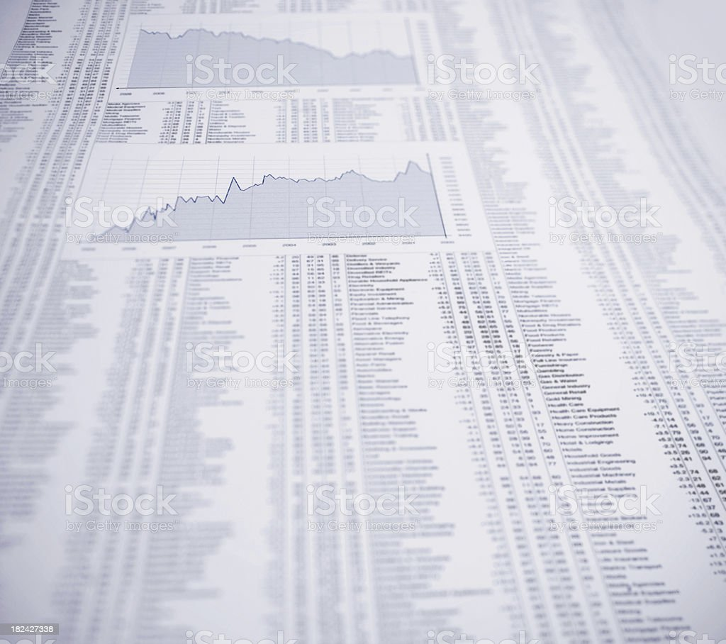 Detail of a financial newspaper stock photo