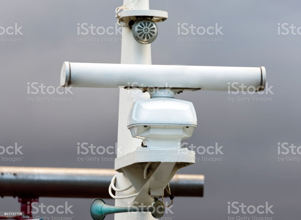 detail of a fishing boat radar stock photo