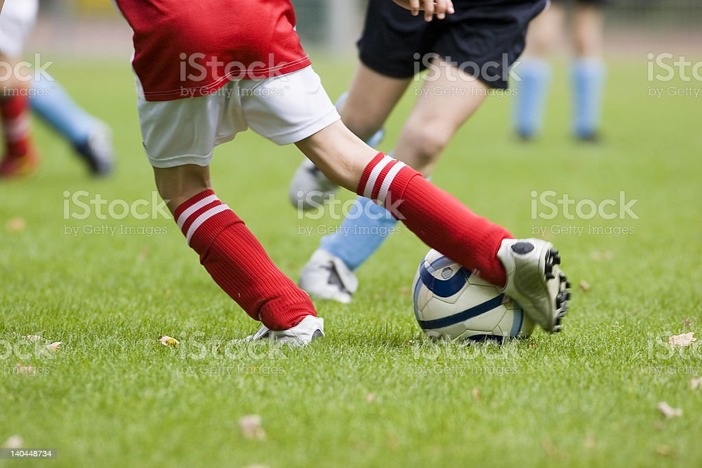 Detail of a football match stock photo