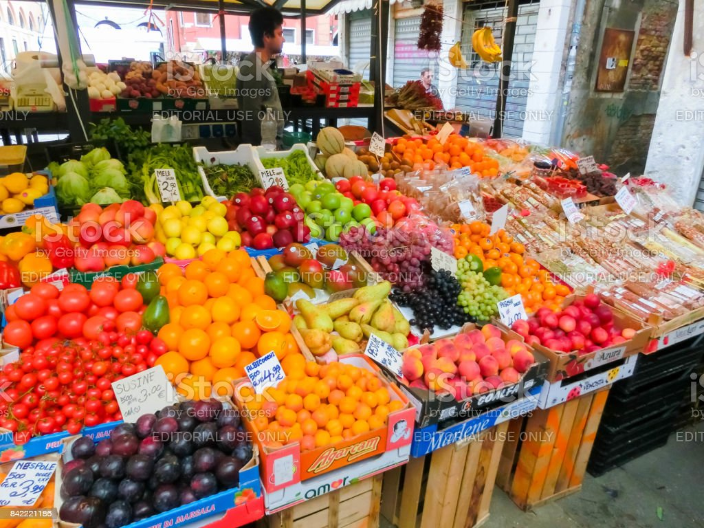 Detail of a fruit stall in Venice stock photo