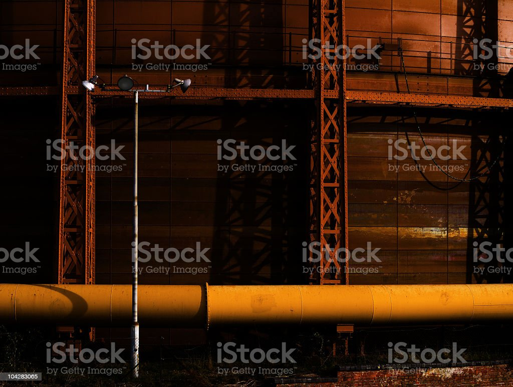 Detail of a gasometer - Large pipe royalty-free stock photo