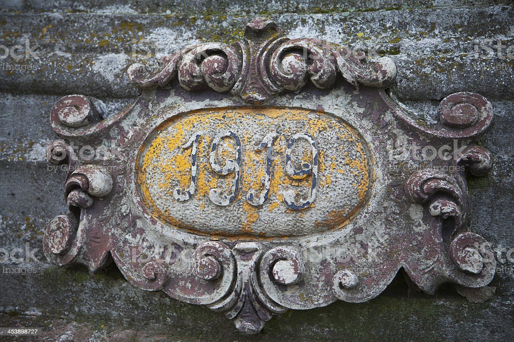 Detail of a grave on an old polish cemetery stock photo