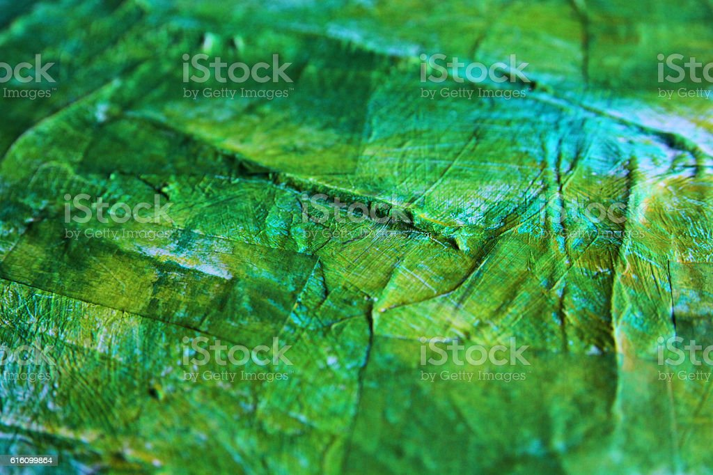 Detail of a green acrylics painting. vector art illustration