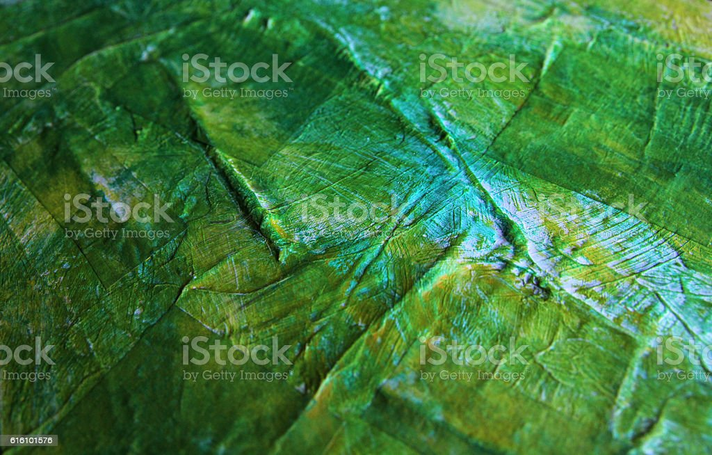 Detail of a green acrylics painting. stock photo