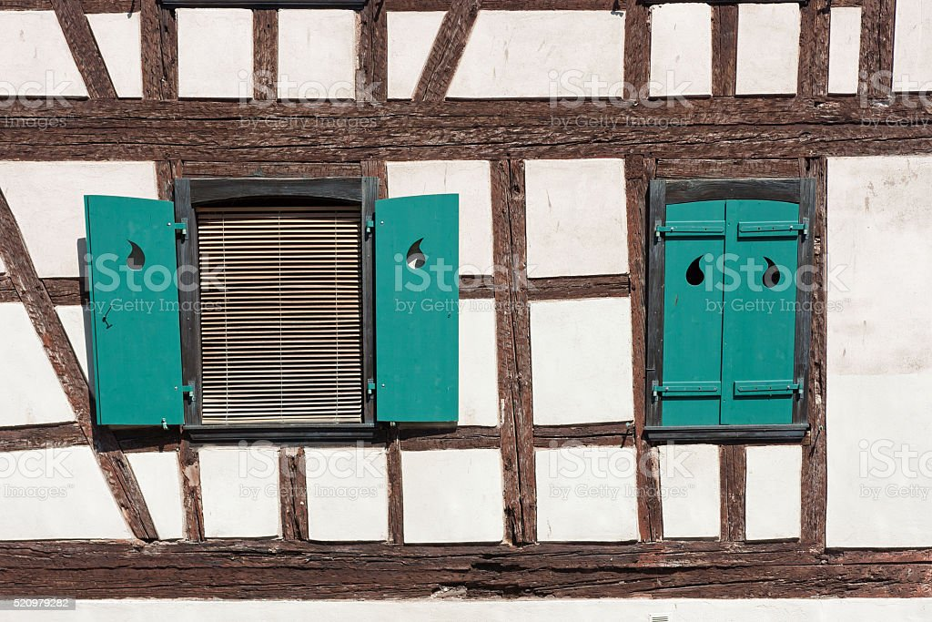Detail of a half-timbered house in Strasbourg, La Petite France stock photo