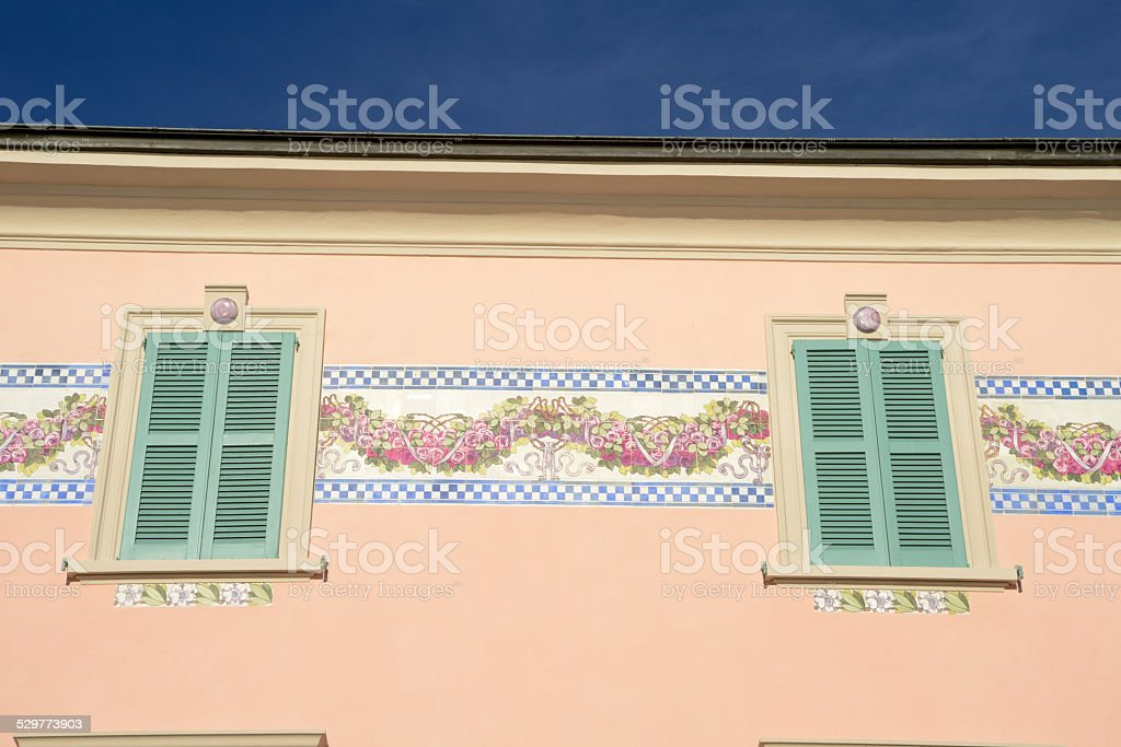Detail of a house at Campione d'Italia on lake lugano stock photo