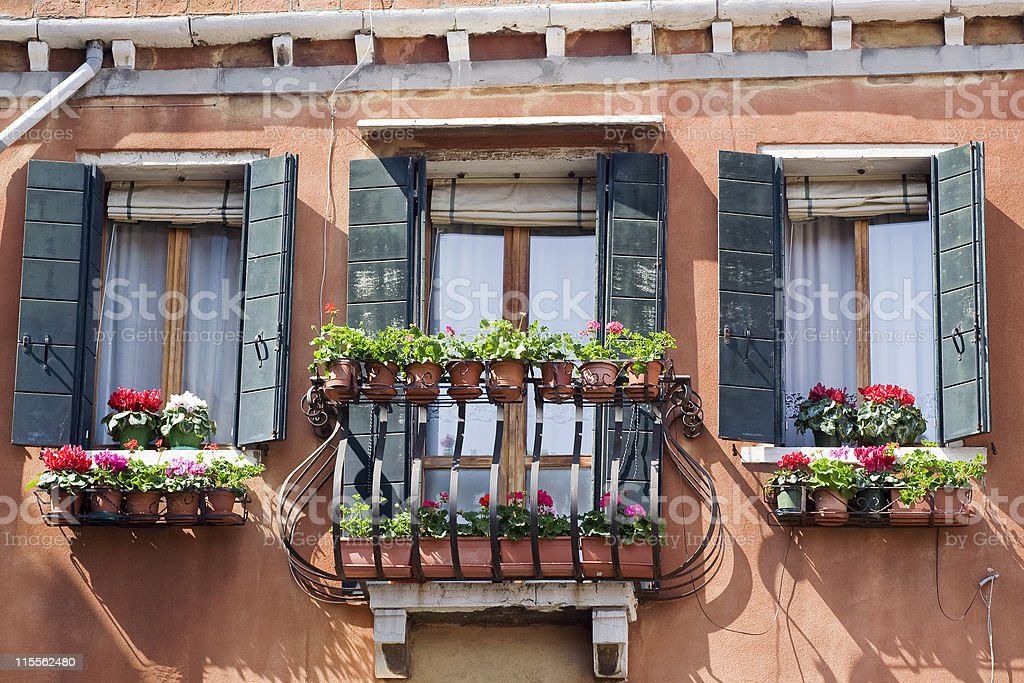 Detail of a house with balcony in Venice, Italy royalty-free stock photo