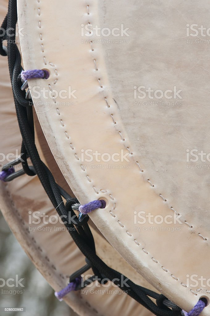 Detail of a large taiko drum stock photo