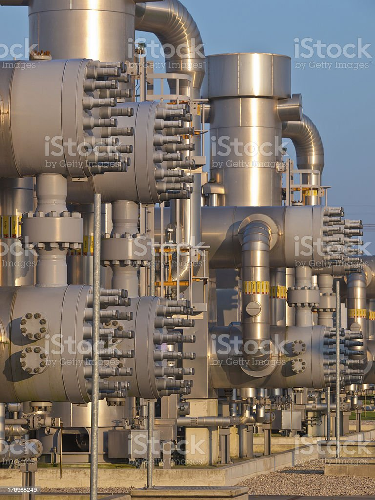 Detail of a modern natural gas processing plant stock photo