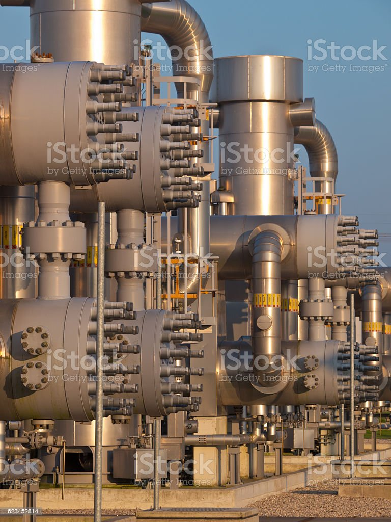 Detail of a natural gas processing plant stock photo