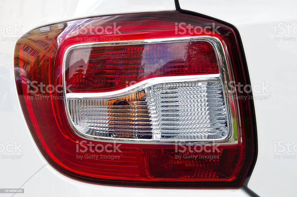 Detail of a plastic shiny  modern tail light stock photo