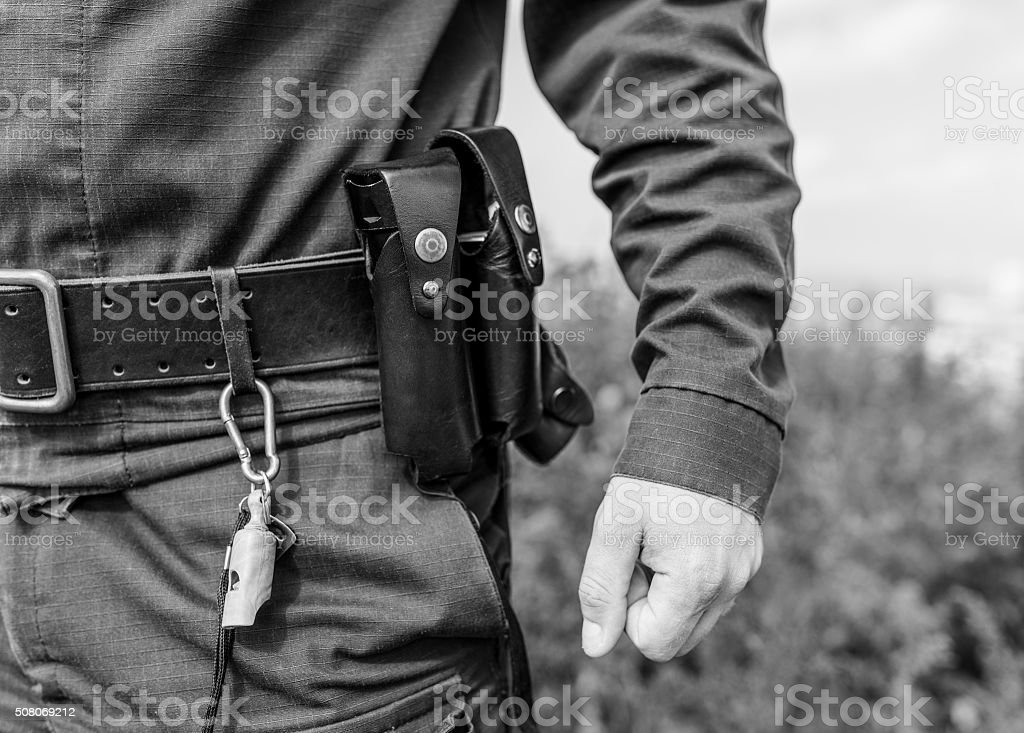 Detail of a police officer. stock photo