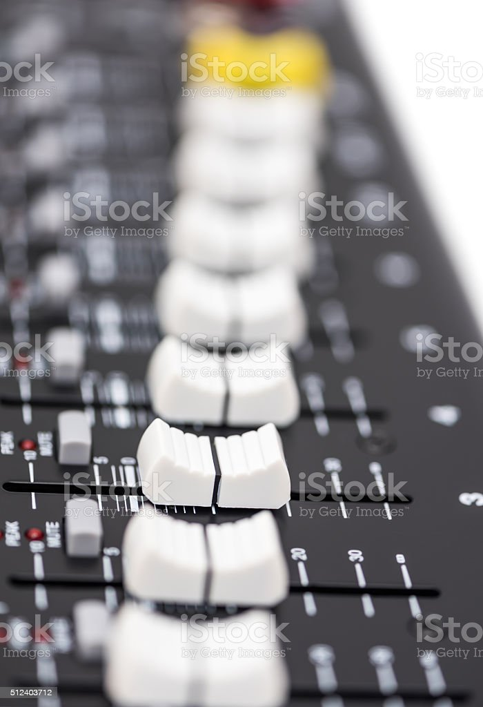 Detail of a Professional Mixing Console stock photo