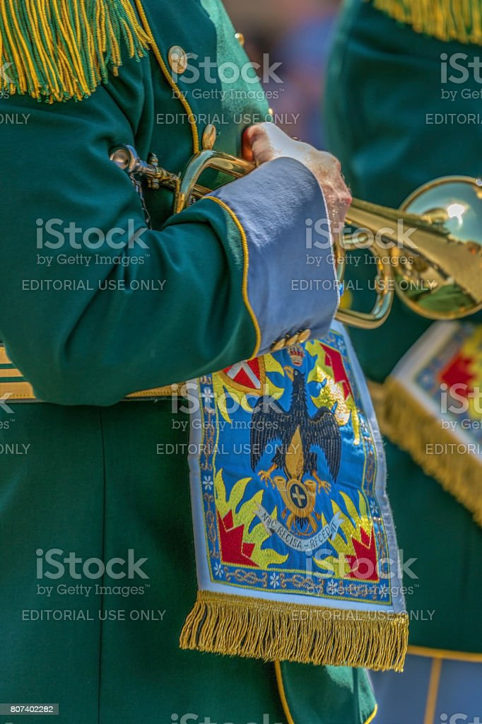 Detail of a protocol uniform of an Italian soldier stock photo