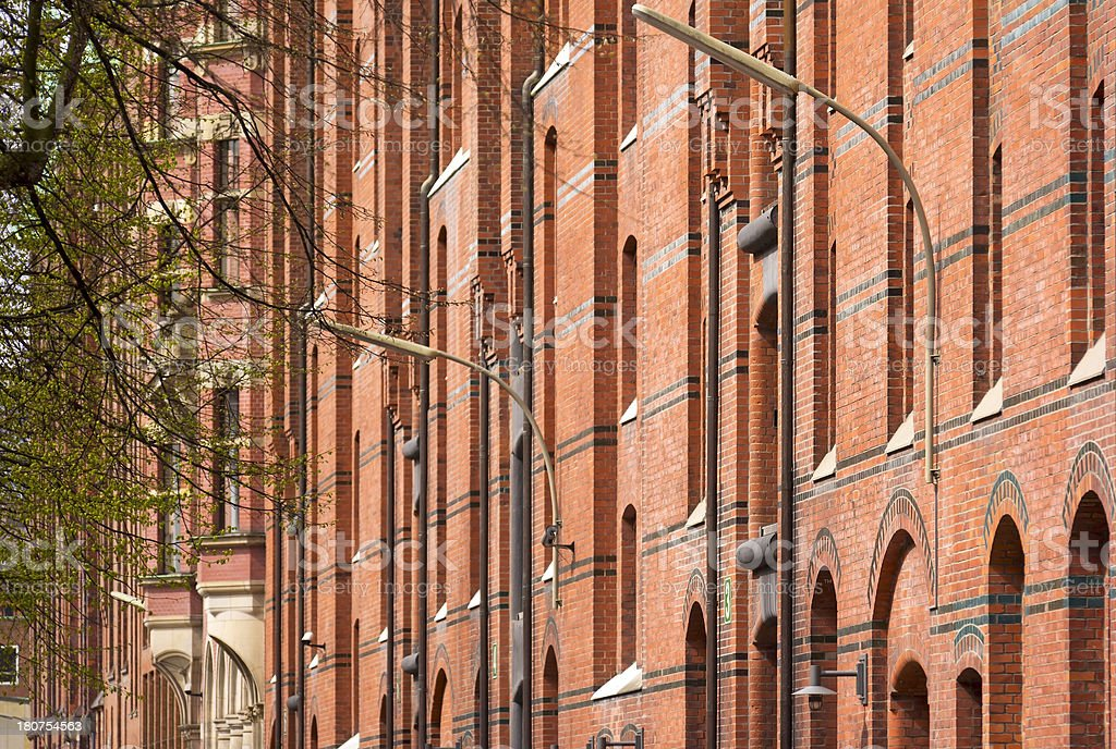 Detail of a red brick building stock photo