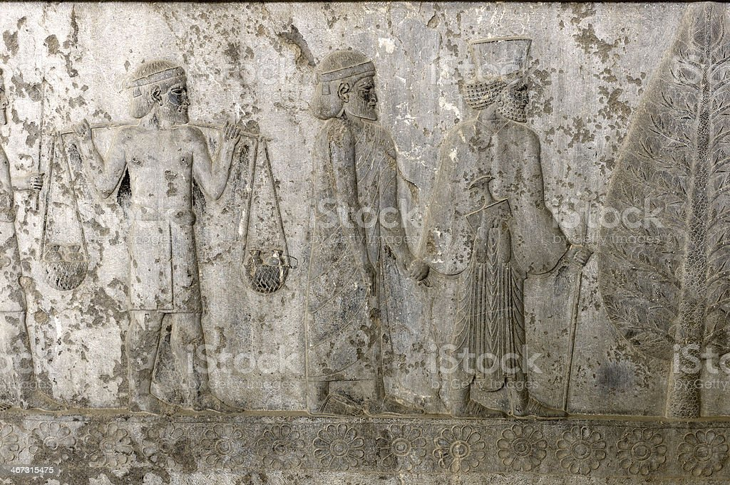 Detail of a relief in Persepolis, Iran stock photo