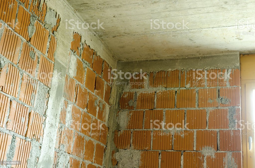 Detail of a room in house under construction stock photo