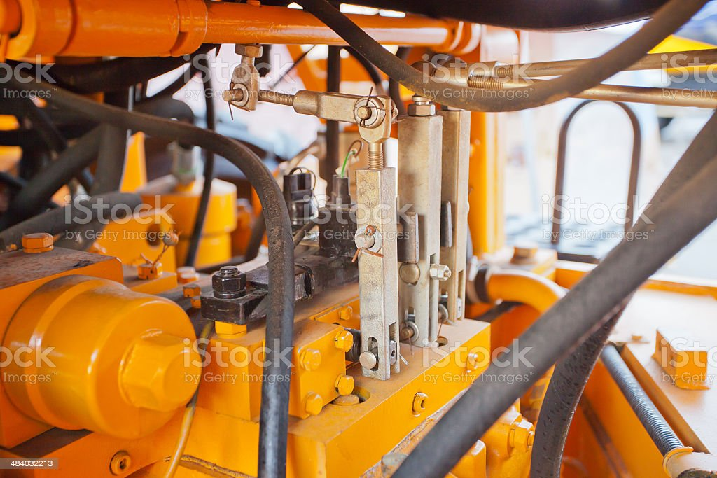 detail of a rundown construction machine stock photo