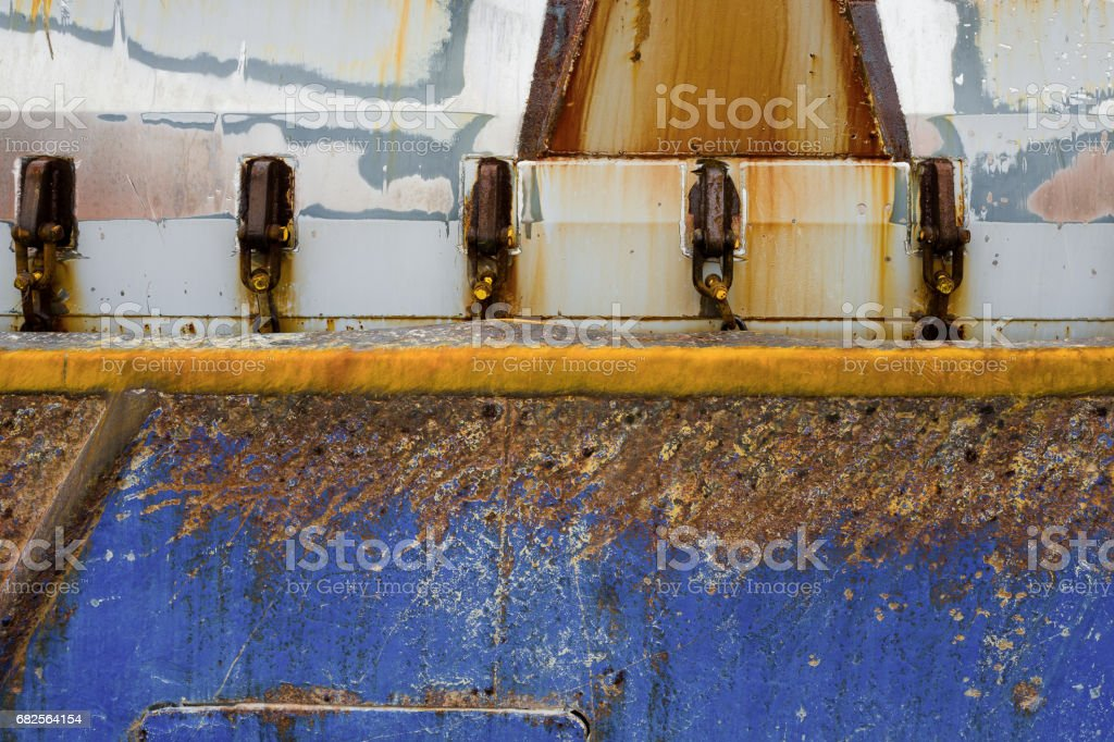 Detail of a rusted boat. stock photo