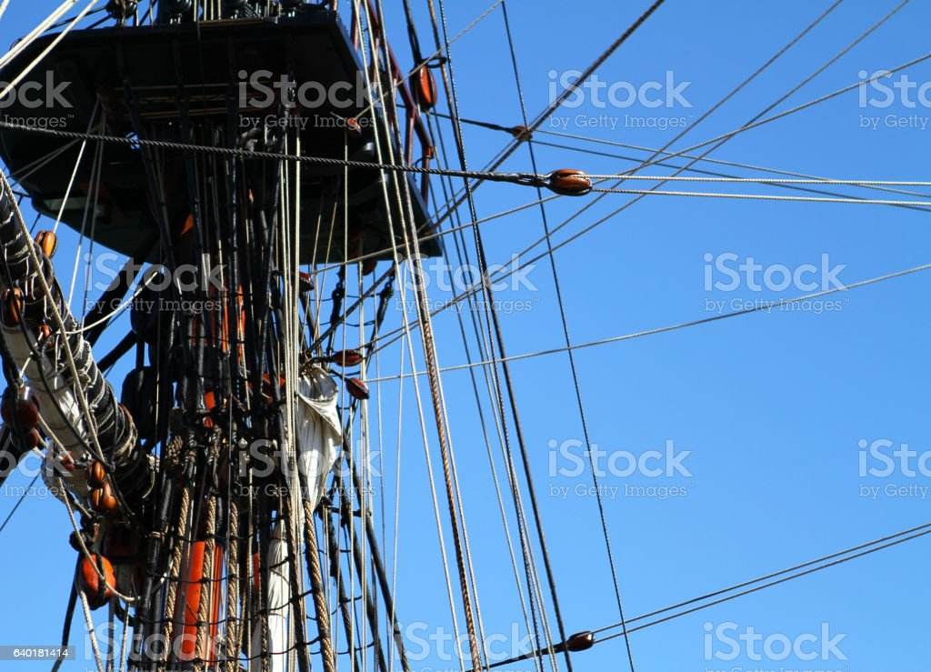 Detail of a sailing ship mast and rigging stock photo