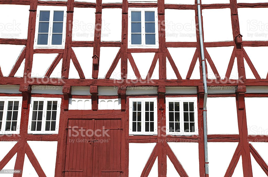 Detail of a scandinavian house with visible beams stock photo