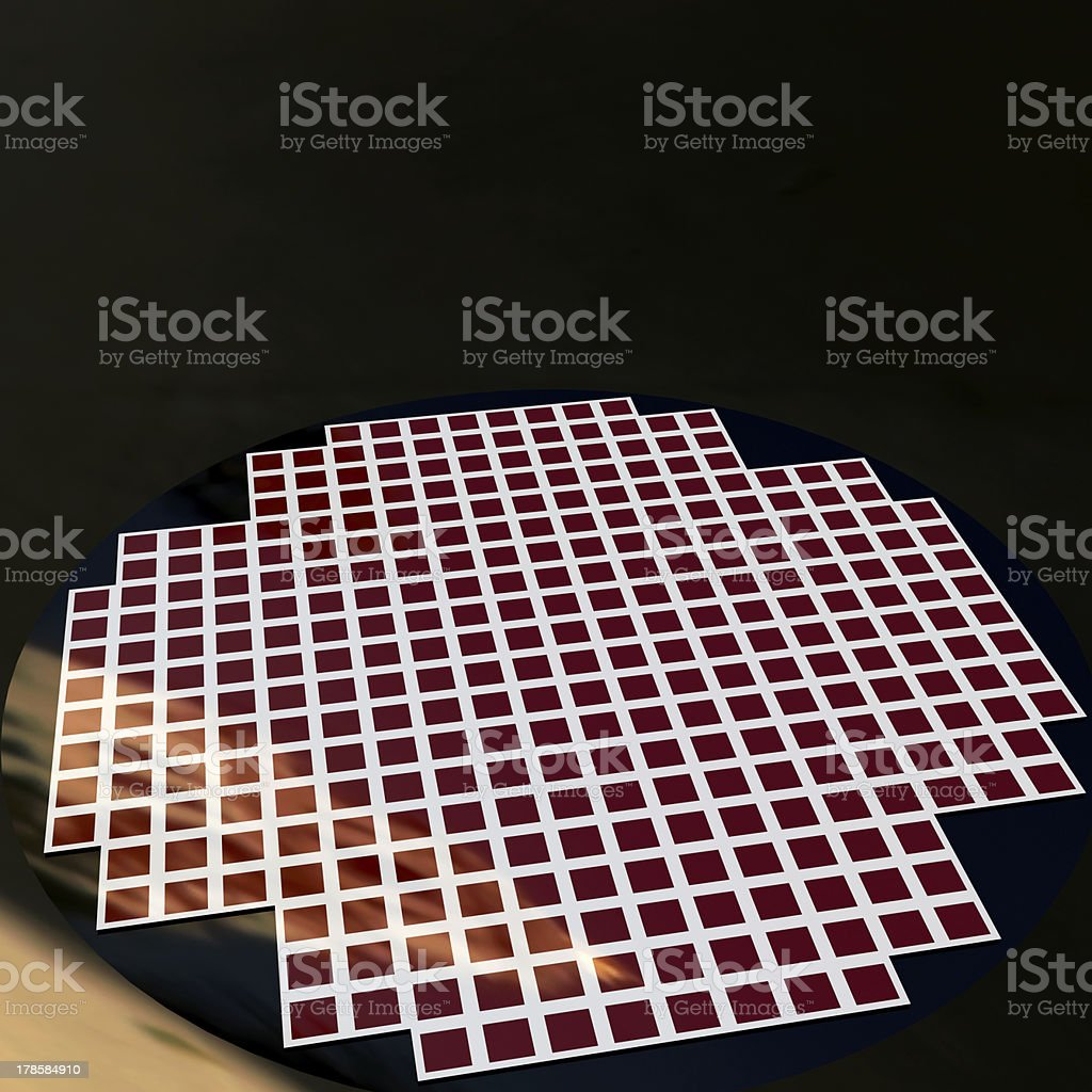 detail of a silicon chip wafer royalty-free stock photo