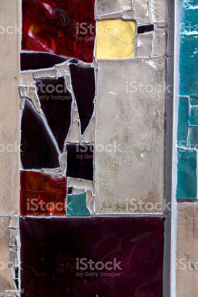 Detail of a Stained Colorful Window. Abstract Texture Background stock photo