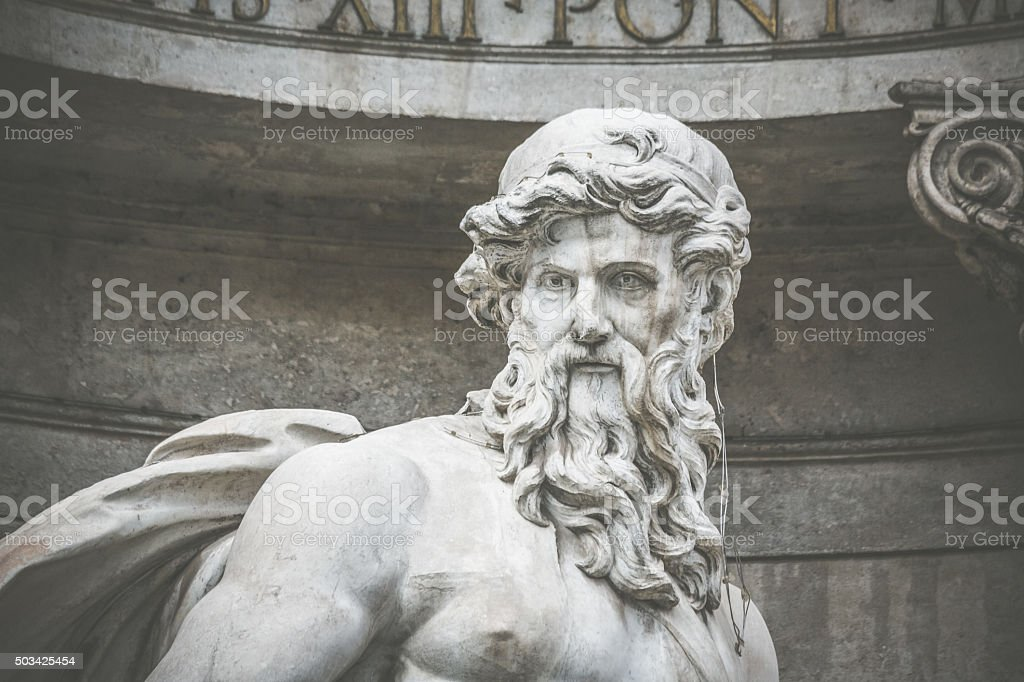 Detail of a Statue at Trevi Fountain in Rome stock photo