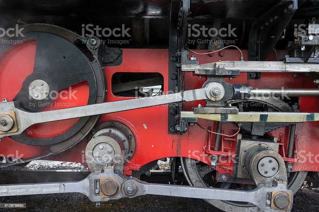Detail of a steam locomotive stock photo