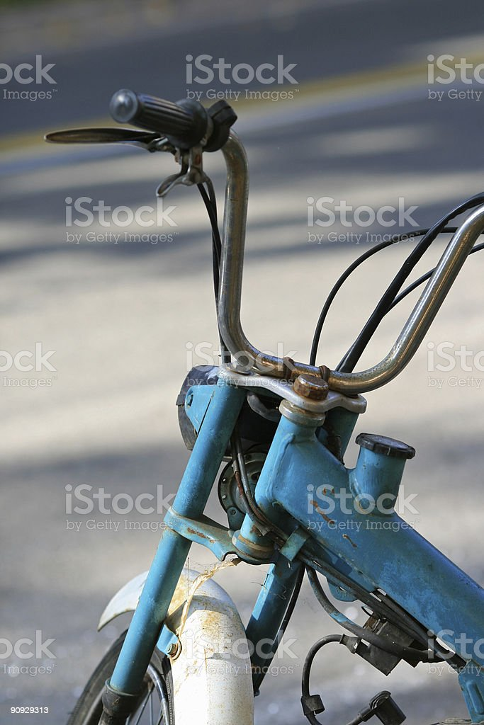 Detail of a strange old italian moped royalty-free stock photo