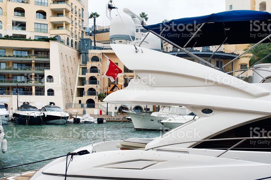 Detail of a super yacht with satellite domes stock photo