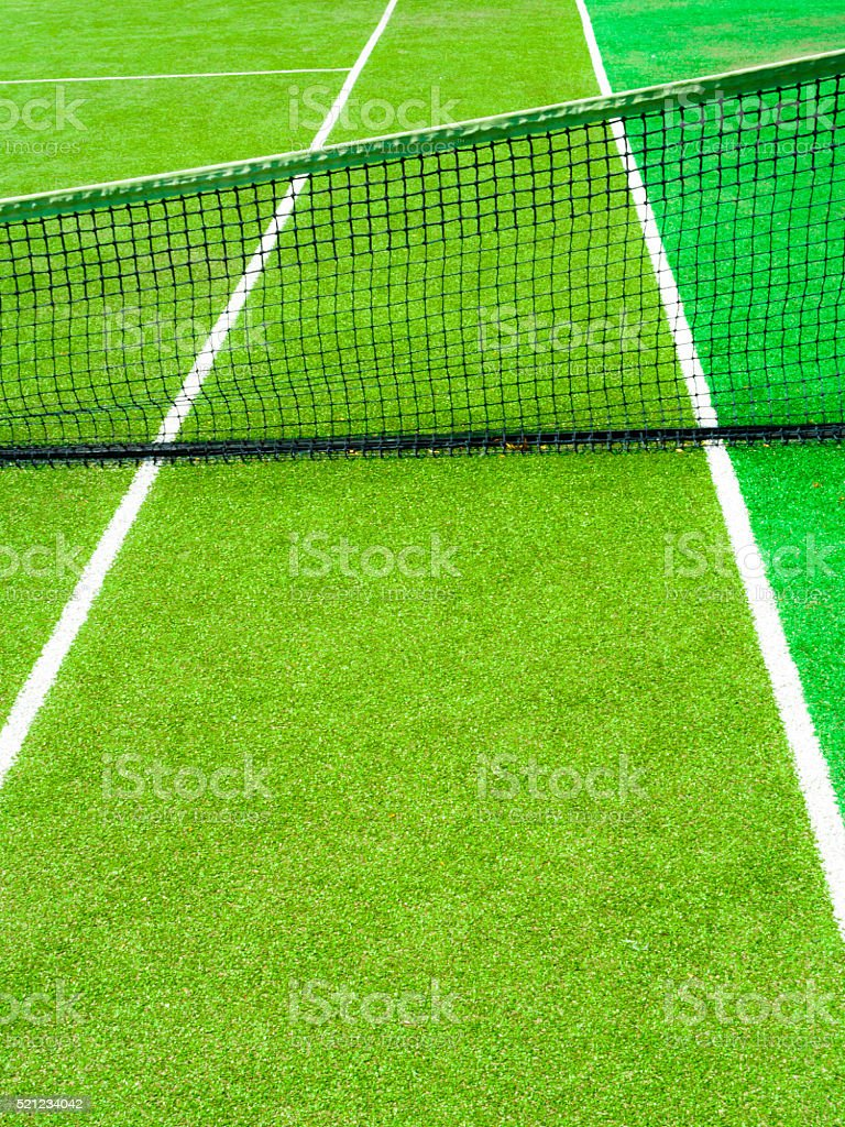 Detail of a tennis court with net stock photo