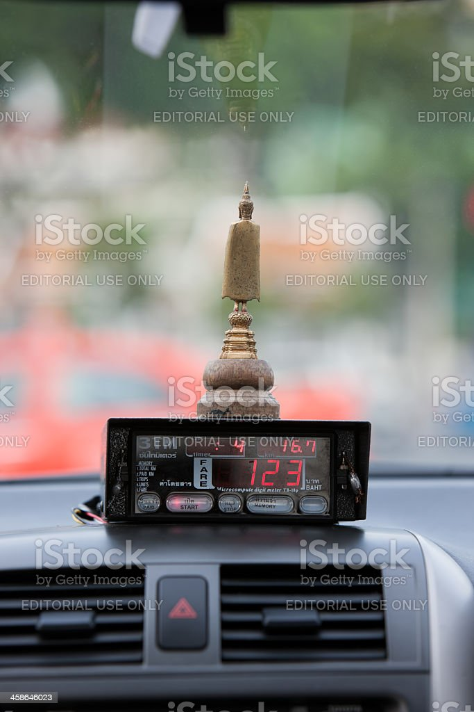 Detail of a Thai taxi meter. stock photo