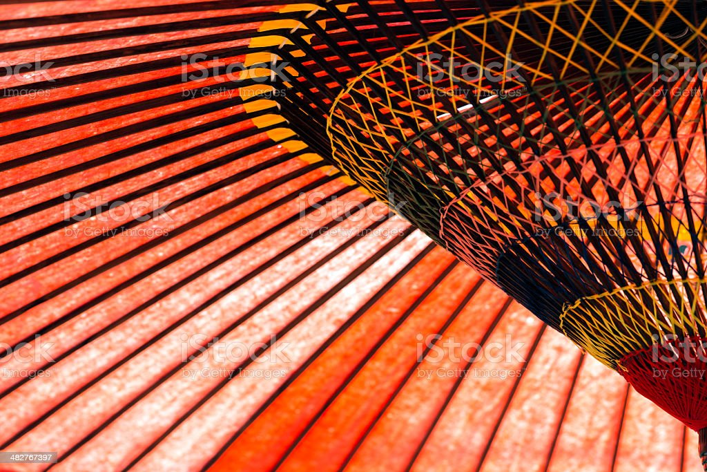 Detail of a Traditional Red Japanese Umbrella stock photo